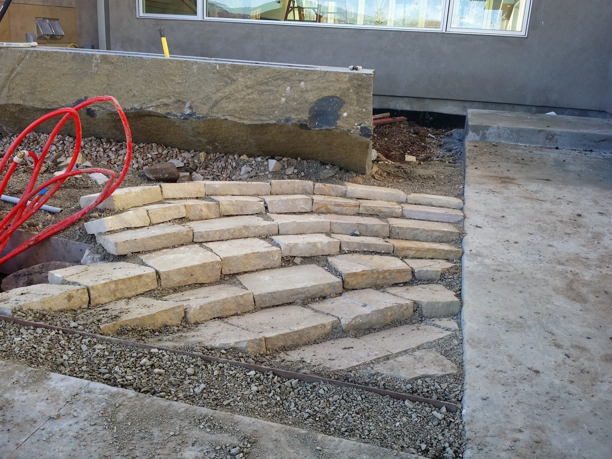 Contractors second attempt at laid stone mulch